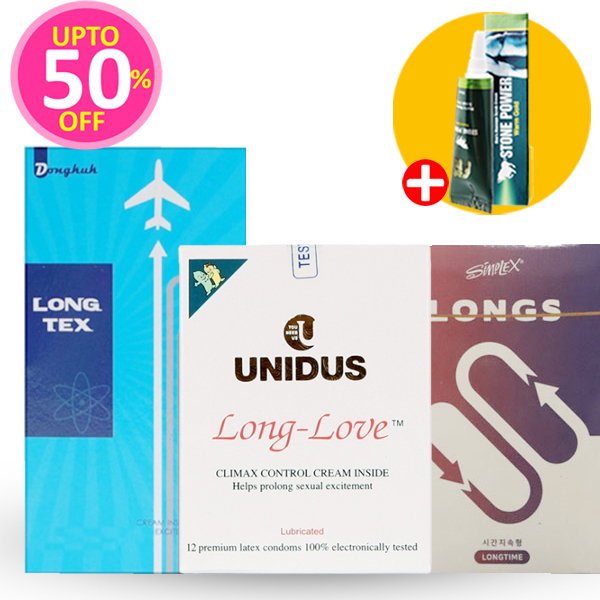 사정지연 특가 패키지 28P(롱러브 12P+심플렉스 LONGS 6P+롱텍스콘돔 10P)+스톤파워 증정