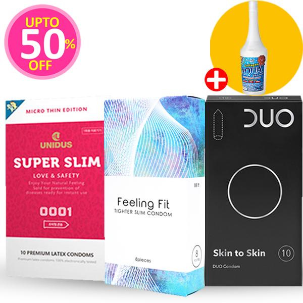 맨살느낌 특가 패키지 28P(슈퍼슬림 초박형 10P+듀오 스킨투스킨 10P+필링핏 타이터슬림콘돔 8P)+아쿠아젤 증정